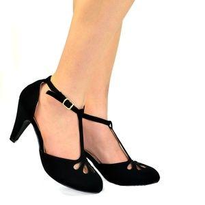 Women's Teardrop Cut Out T-Strap Mid Heel Dress